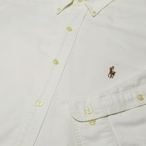 White Heavyweight RALPH LAUREN Long Sleeve Shirt